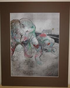 15. MARCIN PECKA – Przesłonie, papier , technika mieszana 50 X 40 cm, rok 2015, cena 300,- zł